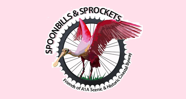 Image of a spoonbill imposed over a bike wheel; Spoonbills & Sprockets Cycling Tour