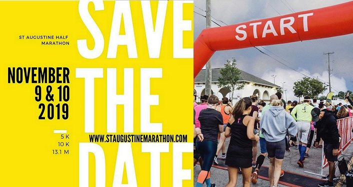 Text in white on yellow background: SAVE THE DATE,St Augustine Half Marathon, November 9 & 10, 2019; the other half of image is people lined up at the starting line