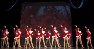 iimage of dancers on stage, dressed in red & white dance costumes for the St Augustine Winter Spectacular