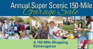 text Annual Super Scenic Garage Sale with a couple of images of people shopping, looking at garage sale items.