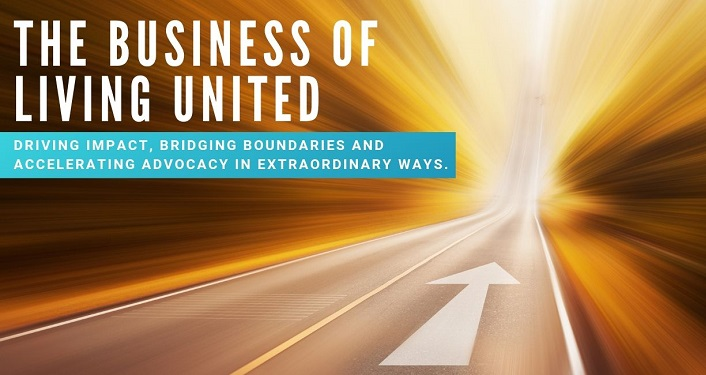 image of highway fading into the distance with text: The Business of Living United