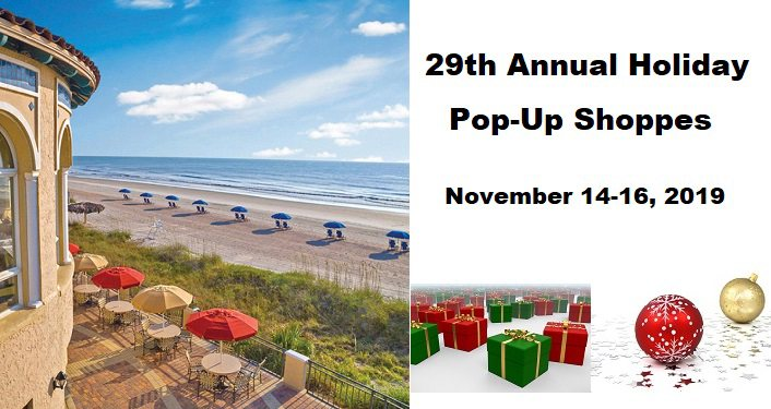 image of The Lodge & Club at Ponte Vedra Beach with text 29th Annual Holiday Pop-Up Shoppes, small image of boxes wrapped for Christmas plus Christmas ornaments, one red, one gold