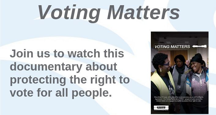 text Voting Matters with image of black woman standing with younger students