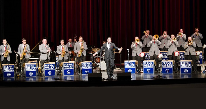 photo of the Glenn Miller Orchestra onstage performing