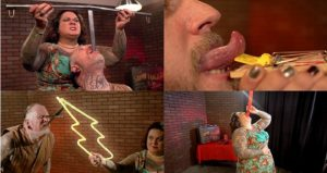 composite of 4 images of Captain & Maybell -- Sideshow Performance at Ripley's; sword swallowing