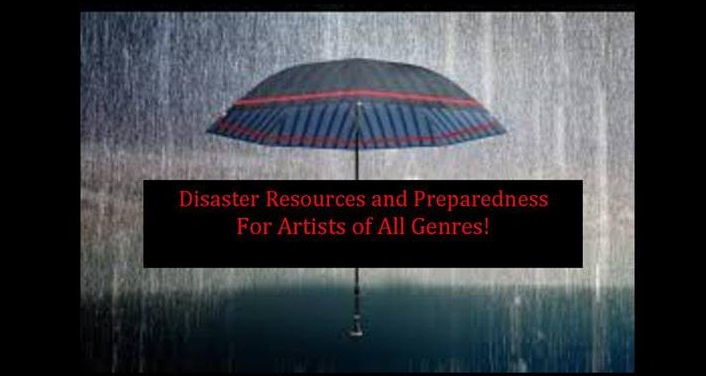 image of umbrella with rain in background covering the text Disaster Preparedness for Artists Workshop