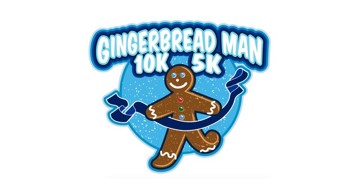 caricature of a Gingerbread Man running at a blue ribbon finish line, text Gingerbread Man 10K-5K