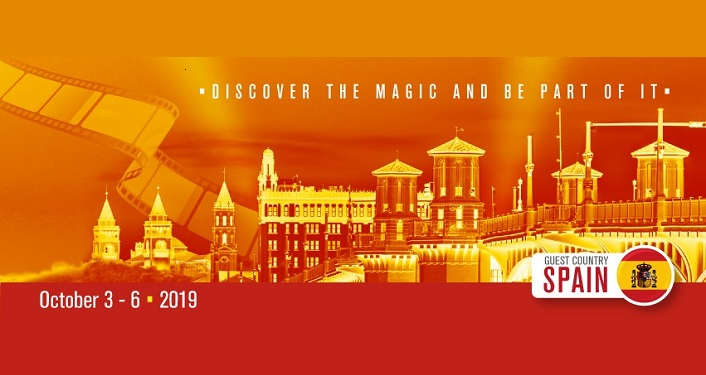 image of St. Augustine skyline down in oranges, reds, yellows with text Discover the Magic and Be a Part of It for Hispanic Culture Film Festival