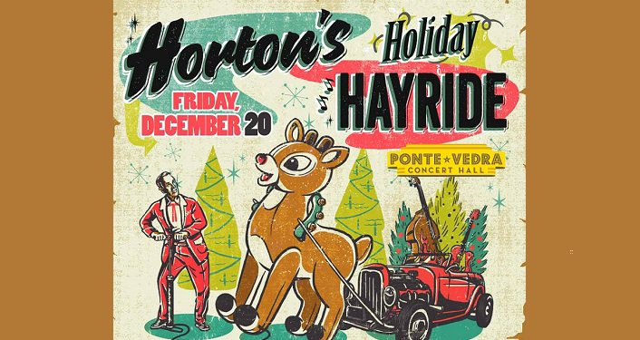 text; Horton's Holiday Hayride Friday December 29 with cartoonish one reindeer pulling an old convertible with guitars propped up against the seats.