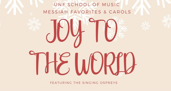 text in red on pink background with snowflakes; Joy to The World Messiah Favorites & Carols