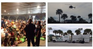 collage of 3 images for National Night Out; on the left two policemen talking to group of people; on top right image of helicopter in air, bottom right Police vehicle.