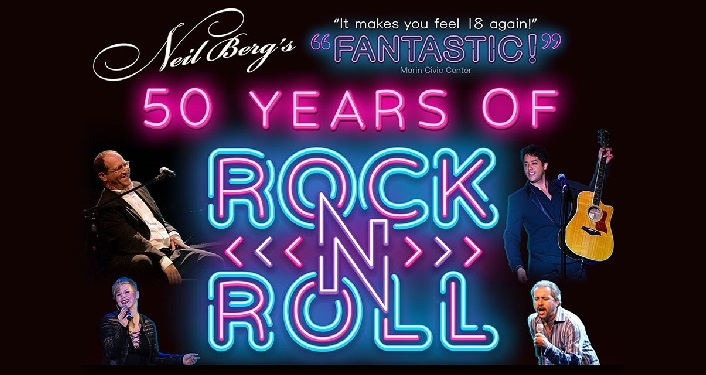 text: Neil Berg's '50 Years of Rock and Roll' with image in upper left man sitting playing a piano, lower left woman singing, upper right man standing holding guitar, lower right man singing into microphone