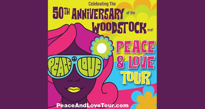text Peace & Love Tour: Tribute to Woodstock, 50th Anniversary Celebration, with cartoon image of female head with pink hair, wearing sunglasses with Peace in right lense, Love in left lense