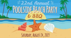 text 22nd Annual Poolside Beach Party & BBQ 2019 Saturday, August 24, 2019 with seashells and beach image