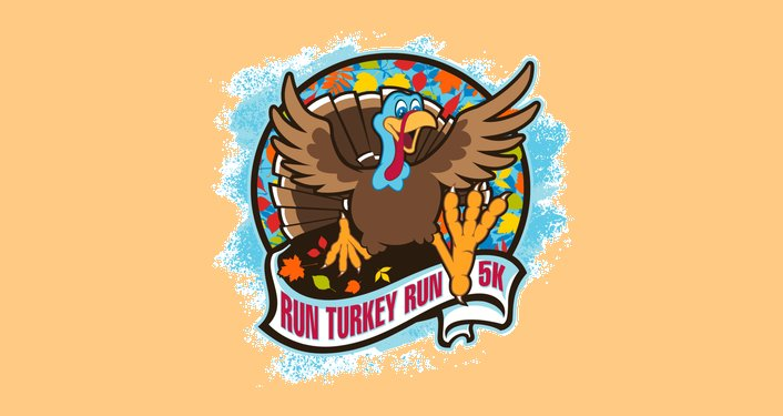 caricature image of a turkey running with text, Run Turkey Run 5K