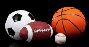 iamge of soccer ball, football, basketball, baseball for Sports Sunday at the Oak!
