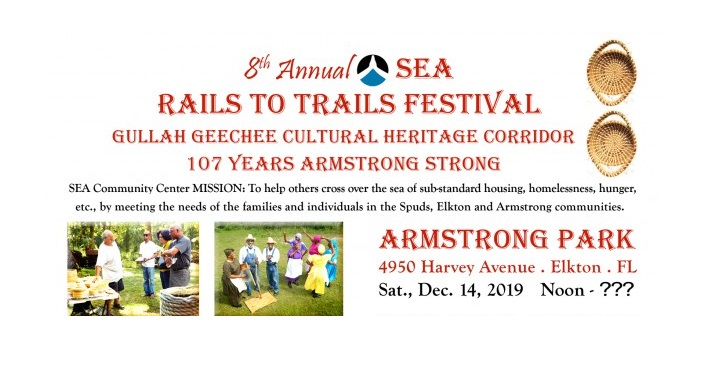 text in red on white; 8th Annual SEA Rails to Trails Festival, Armstrong Park, December 14, 2019. two small images to the bottom left of Gullah Geechee dancers
