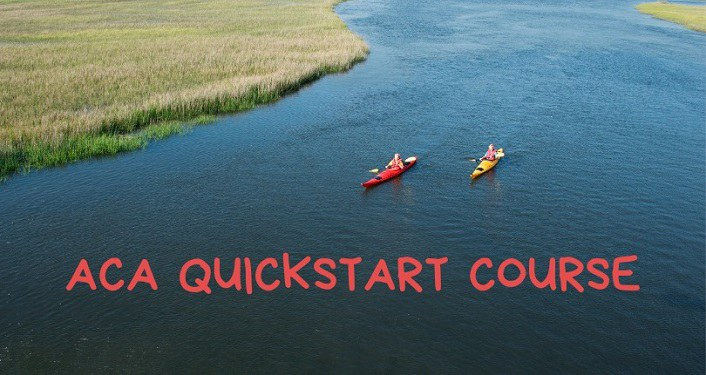 image from above of 2 kayakers on a creek; ACA Quickstart Kayak Course