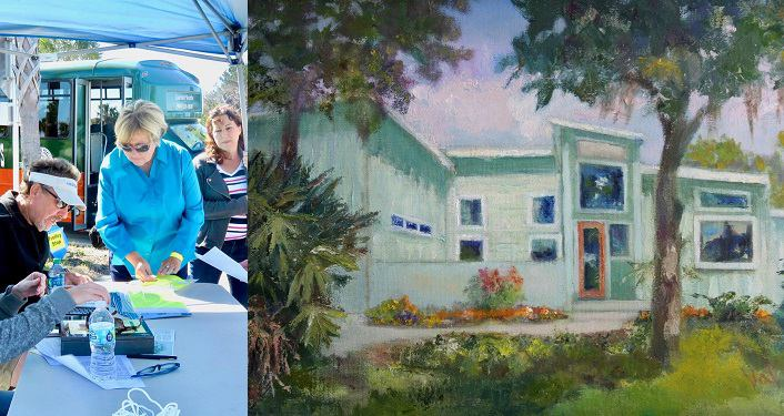 left side image of people checking in for tickets forVilano Fest Tour of Homes; right side painting of one of homes on the tour; mint green house surrounded by palm trees and hibiscus