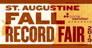 text in brownish-red; Fall 2019 St. Augustine Record Fair, white and golden yellow background color with a fall leaf