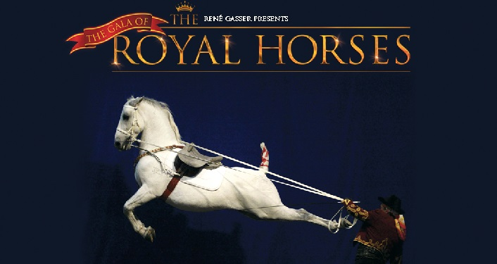 TExt Gala of The Royal Horses, presented by Rene Gasser, with image of Lippizzaner stallion on lead performing The Airs Above the Ground""