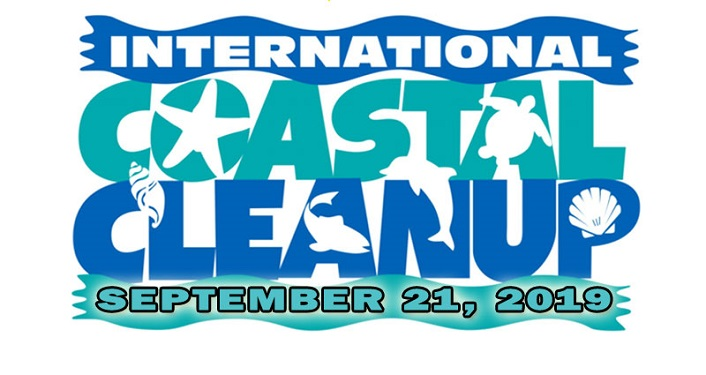 text, International Coastal Cleanup September 21, 2019 with starfish, turtle, dolphin, shark hiding in formation of letters