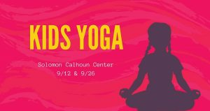 hot pink background with text, Kids Yoga in yellow. silhoutte of young girl sitting cross-legged, in ohhmmm pose.
