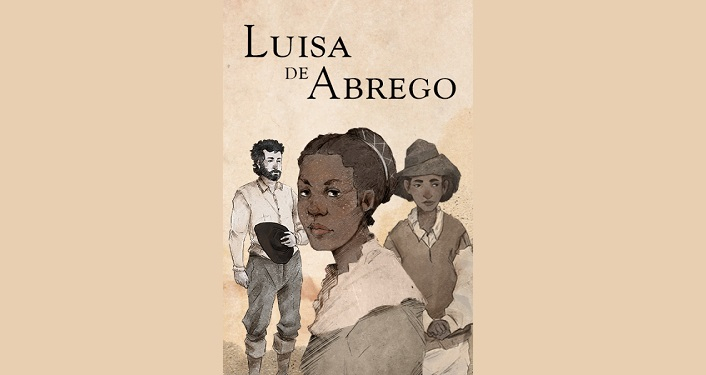 Text: Luisa de Abrego and image of 3 of first settlers of St. Augustine; La Florida Talk