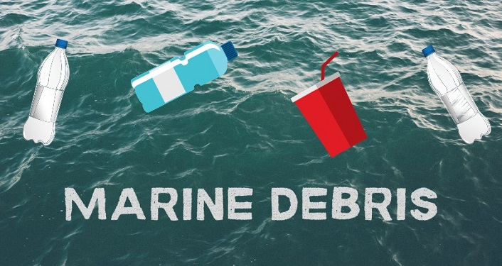 image of ocean with can, bottle , cup; text superimposed over it Marine Debris