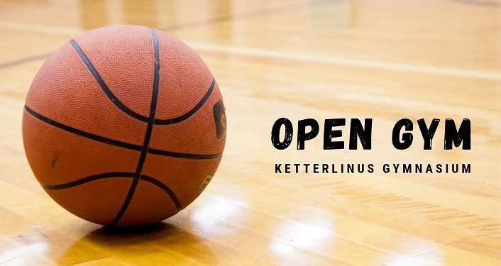 image of basketball on a court with text, Open Gym Basketball at Ketterlinus