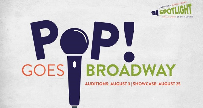 text, POP! (with the 'o' a microphone, Goes Broadway - Limelight Sunday Night Spotlight