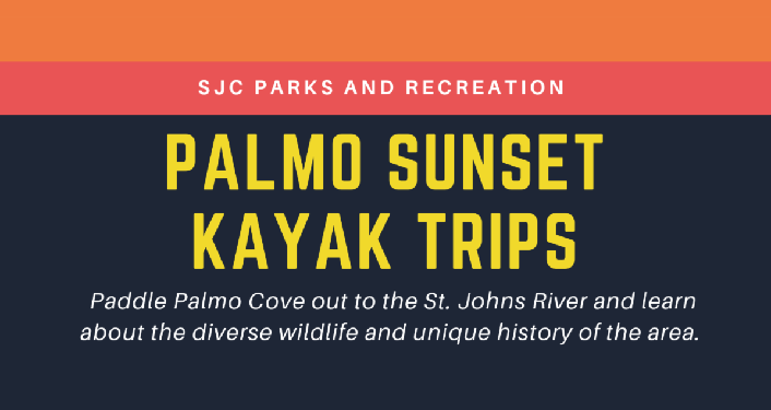 text in large yellow letters, Palmo Sunset Kayak Trips and dark brown background