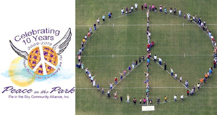 text Peace in the Park - International Day of Peace Celebration on left side; on right is aerial view of human peace sign