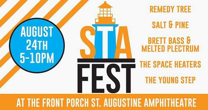 Words STA Fest with STA stacked ontop FEST, image on lighthouse on top of that, list of bands performing plus Front Porch St. Augustine Amphitheatre