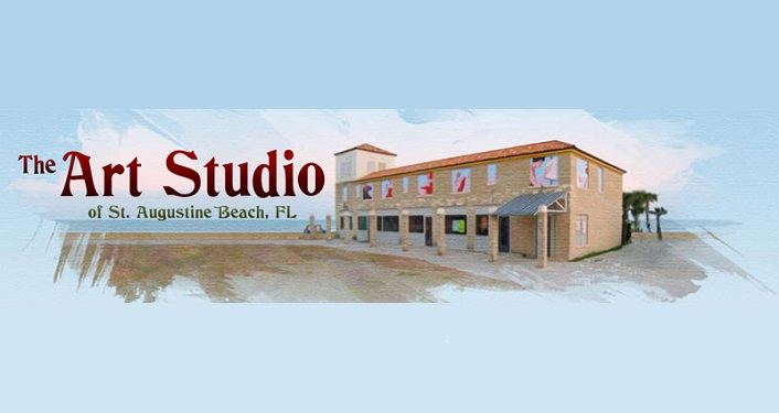 light blue background, image of the outside of The Art Studio of St Augustine Beach, FL and the same text in red