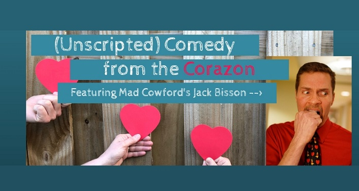 text Unscripted Comedy for the Corazon Featuring Jack Bisson, image on man with mustache wearing red shirt, dark tie, chewing on his knuckle