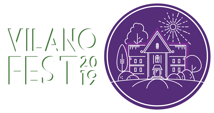 text; Vilano Fest 2019 - Tour of Homes with puple circular image with homes inside