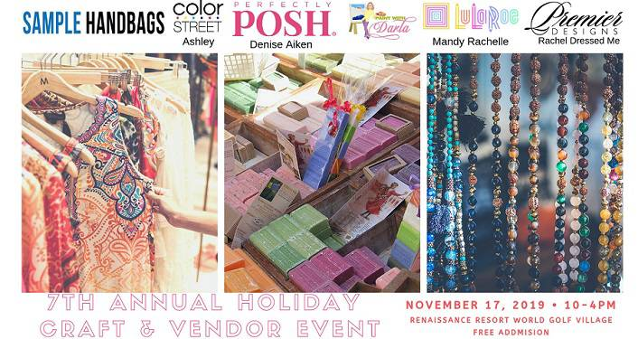 "text ""Holiday Craft & Vendor Event"" with images of handbags, jewelry, clothes"