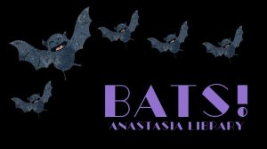 five grey backs in flight on back blackground; text in purple Bats!