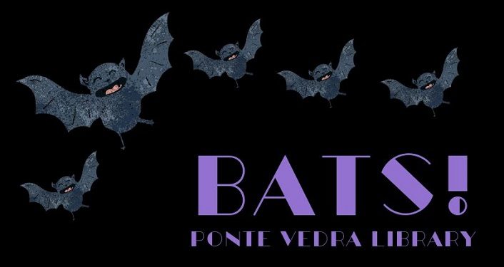 black background with several grey bats on page along with text in purple; Bats!