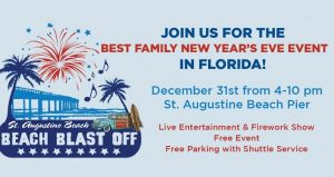 caricature image of palm trees, fireworks with text: Beach Blast Off 2019..Best Family New Year's Eve Event