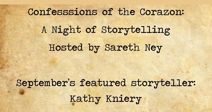 text on parchment colored background; Confessions of the Corazon - A Night of Storytelling