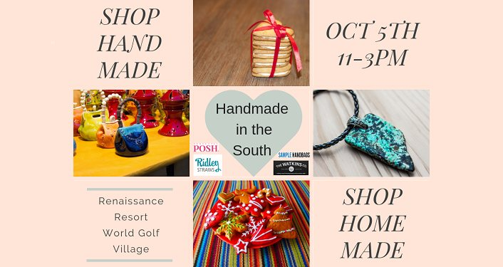 text; Handemade in the South Event with images of handmade goods, keychain, necklace, cookies