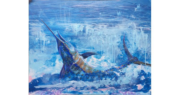 ;ainting in various shades of blue of a marlin jumping out of water; titled Marlin by Mike Fitzpatrick