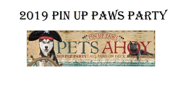 text: 2019 Pin Up Paws Party with caricture of eskimo husky wearing pirate hat