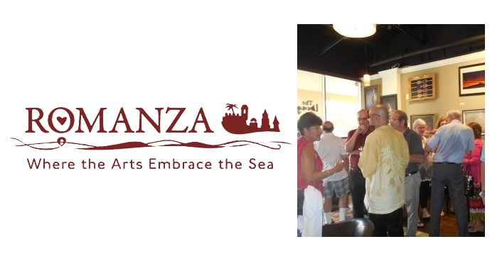 text Romanza Where The Arts Embrace the Sea, image on right of people gathered socializing