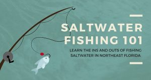 caricature image of fishing rod with silver fish on end of line. Text: Saltwater Fishing 101...Learn the ins and outs of saltwater fishing in Florida.
