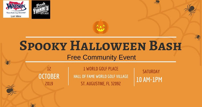 text in black on orange background; Spooky Halloween Bash, Free Community Event
