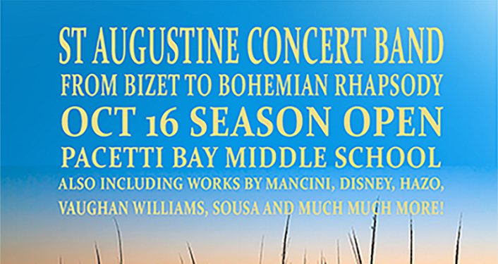 blue background, light yellow text; St Augustine Concert Band Season Opener