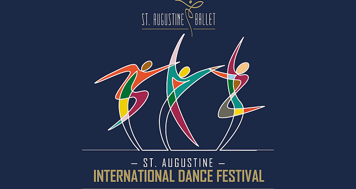 text St. Augustine International Dance Festival Gala Performance with caricature of 3 ballet dancers